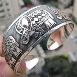 Wholesale-2016 Vintage Tibetan Tibet Elephant Silver Plated Bracelets Charming Elegant Round Metal Cuff Bangles Women Jewelry Gifts 1Pcs