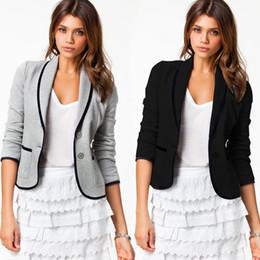 Wholesale 4011 autumn women new fashionalble clothing black grey plus size single breasted casual blazers coats ladies jacket S XXL