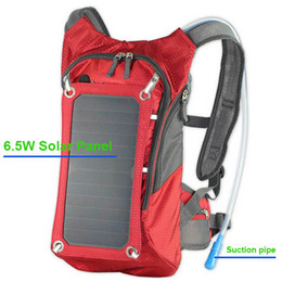 Wholesale 2015 Hot Solar Outdoor Backpack Water Bag W Solar Panel USB Power Bank Charger Bag For iPhone iPad
