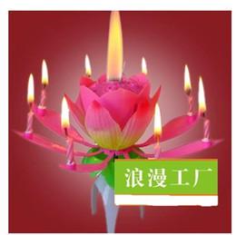 Velas de cumpleaños barcos en Línea-Velas de cumpleaños creativo doble rociador giratorio de fuegos artificiales de la música de baile de la lámpara de la vela de loto de loto vela el envío libre