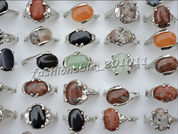 Rings Jewelry 100pcs lot Colourful Stone Rings Gemstone Stone Silver P Rings