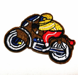 Wholesale 10 Pieces Brown Motor Cycle (4.5cm x 6cm) Embroidered Applique Iron On Patch Kid Patch (AL)