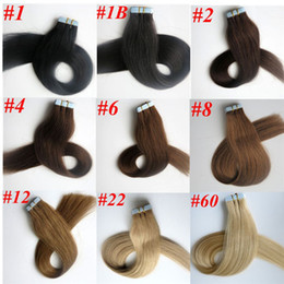 50g 20pcs 1Set Glue Skin Weft Tape in Hair Extensions 18 20 22 24inch brazilian indian Straight human hair Extensions