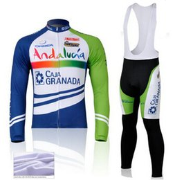 2015 Andalucia winter thermal fleece cycling jersey sport suit cycling jersey long bibs set cycling clothes China mtb mountain bike