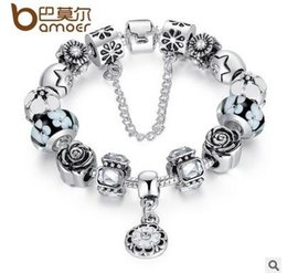 Wholesale Valentine Gifts for Her Flower Heart Charm Fit Beads Bracelet Silver with Safety Chain Colorful Pandora Glass Beads for Women Jewelry Gift