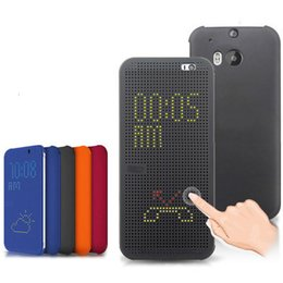 Wholesale Slim Smart Auto Soft Silicone Flip Phone Cover Original Dot View Case Shockproof Holster For HTC One M8 E8 M9 Plus