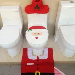 Wholesale Merry Christmas Decoration Best Happy Fancy Santa Toilet Seat Cover Rug Bathroom Set Christmas Decorations best gift Set