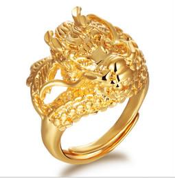 Wholesale 2015 New design K gold plated dragon mens rings adjustable band size wedding ring for men KJ019