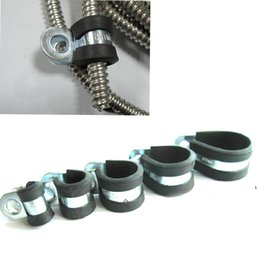 Wholesale 10pcs Cable Wire Hose Pipe Clamp Rubber Lined Steel P Clip Rubber shock Tube R type fastening clip