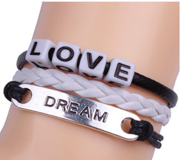 Wholesale 7 STYLE Hand woven string letters love believe hope happy you are my only PU multilayer bracelet Valentine s Day Jewelry M