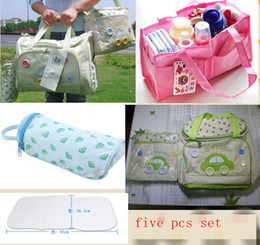 Wholesale multifunction waterproof pc set diaper bags Nappy Stackers stroller portable nappy bags liner wet bag mommy baby milk bottle bag urine pad