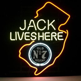 Wholesale 17 quot x14 quot Lives Here New Jersey Old Whiskey Real Glass Neon Light Signs Bar Pub Restaurant Billiards Shops Display Sign
