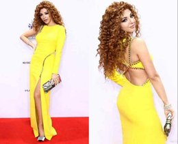 Wholesale New Arabia Singer Myriam Fares Dress Sheath Gowns One Shouder One Full Sleeve Beaded Yellow Floor Length Celebrity Dresses