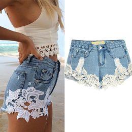 Summer Floral Lace Denim Shorts Women Boyfriend Style Ripped Jean Shorts Bohemian Beach Shorts Sexy Girls Club Bottoms BSF0365