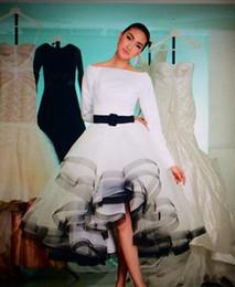 2017 Yousef Aljasmi Arabic Style Evening Dresses Boat Neck Long Sleeves Evening Gowns Front Short Back Long White Formal Dress
