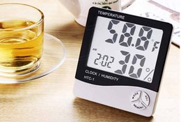 Wholesale htc htc Digital Indoor Desk Hygrometer Thermometer LCD Display Alarm Clock Timer used in house farm