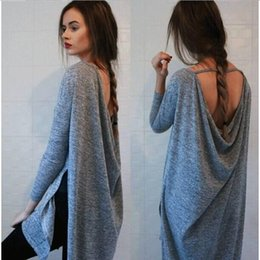Wholesale Womens Fall Fashion Clothing sexy backless Grey Loose Boho Vestidos Dress Ladies Tunic Long Sleeve Dress