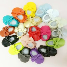 Wholesale 2015 New Tassels Bow Baby Moccasins Soft Moccs Baby Shoes Kids Genuine Cow Leather Newborn Baby Prewalker K043