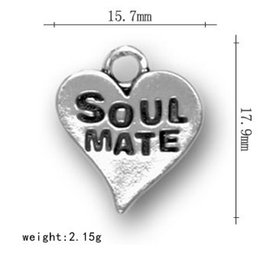 50Pcs Hand-made Soul Mate Message On Heart Charms Jewelry For Lovers