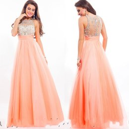 Wholesale Beautiful Crew A line Chiffon Beaded Sequin Sheer Back Prom Dresses New Formal Modest Evening Dress