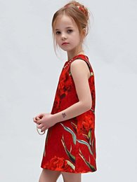 Wholesale 2015 summer New style children s clothing baby sleeveless dresses cost continuous printing Chinese style clothes