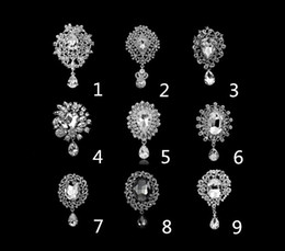 Wholesale Rhodium Silver Plated Clear Crystal Rhinestone Waterdrop Brooches and Pins For Wedding Bouquet Fashion Jewelry
