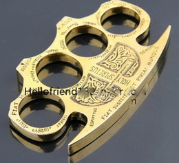 Wholesale QTY HOT HELL DETECTIVE CONSTANTINE BRASS KNUCKLE DUSTERS GOLD Security self defense Field lifesaving