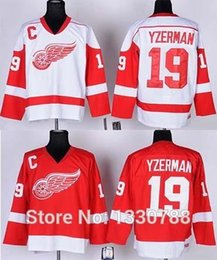 Detroit Red Wings Steve Yzerman Jersey Red Home White Away Throwback Vintage Hockey Jerseys Stitched #19 Red Wings Shirt M-3XL