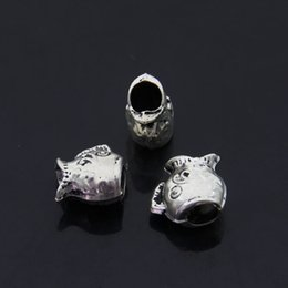 Free Shipping 25pcs lot Jewelry components Anique Silver alloy Head fish head Animal Big Hole Beads 12x12x7mm inner size 4.mm