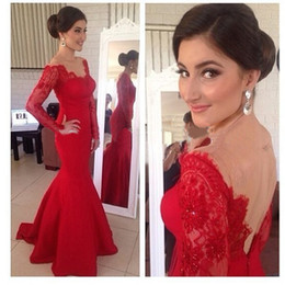 Mermaid Evening Dresses Long Sleeve Elegant Open Back Sheer Custom Made Newest Fall Formal Party Gowns W4343 Red Appliques Top Made
