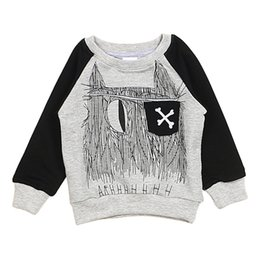 Wholesale New Arrivals Unisex Children s Kids Pullover Clothing T shirts Raglan Sleeves Cotton Abstract Patterns Spring Autumn KA340