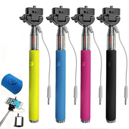 Wholesale groove Monopod selfie sticks with wire no need bluetooth in1 Audio cable handheld monopod for iphone Android phone gopro sj4000