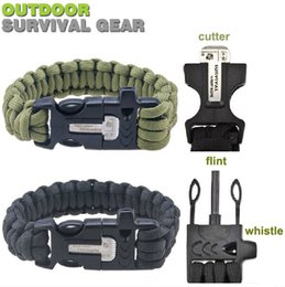 New 550LB paracord survival bracelet buckle with flint & whistle & cutter , outdoor camping survival equipment sobrevivencia