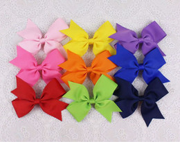Wholesale Handmade Baby Girl Clips Boutique Hair Bows Grosgrain Ribbon Hairpins Kids Hair Accessories Solid in pc P