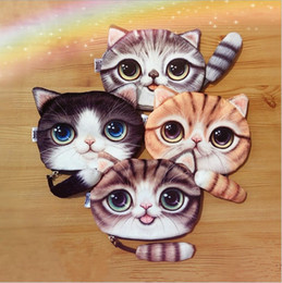 Wholesale 2015 NEW16X13CM patten D cat printed coin purses kitty with tail bag card ID holders key wallets