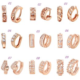Wholesale New sterling silver earrings K rose gold plating hoop earrings crystal earrings fashion jewelry women earring
