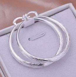 Wholesale-New Fashion Women Jewelry Stylist 925 Sterling Silver Round Big Large Hoop Huggie Loop Earrings