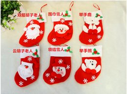 2017 bolsas de bolsillos Decoraciones del partido de la Navidad de Santa Claus muñeco calcetines de dulces de Navidad regalos bolsa Cocina Cubiertos Tenedores Bolsillos gente Cuchillos Bolsa bolsas de bolsillos oferta