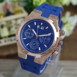 Wholesale New hot fashion luxury business accurate import multi function calendar quartz movement rose gold case silicone watchband Mens Watch