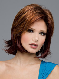 Fashion bob style Synthetic hair wigs with bangs Medium length haircuts Straight Brown wig for women SW0138