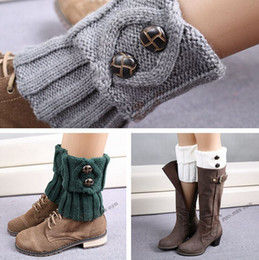 Wholesale Hot winter leg warmers Rhombus Plaid button Boot cuff Short Flanging Leg Warmers Knitted Leg Warmers Foot socks boot cuff knit leg warmer