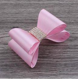 Newborn Satin Hair Bows with Rhinestone Buttons Baby Boutique Hair Bows Hair clips Girls' Hair Accessories 10pcs