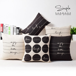 American British Simplicity Style Cushion Covers Letters Pillow Case Bedroom Decorative Sofa Throw Linen Cotton Cushion Cover