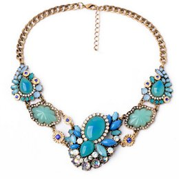 Vintage Jewelry Collares Women Blue Flower Necklaces Charms Statement Necklace Colar For Ladies S99605