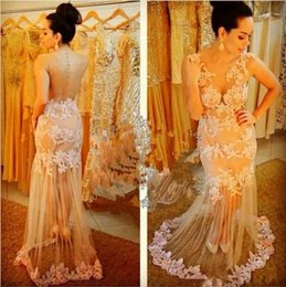 Embroidery Crystal Prom Dresses 2016 Sheer Back New Style Red Carpet Evening Gowns Party Dresses Spring New Custom Made