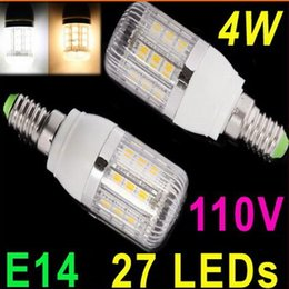 110V E14 4W 27 SMD5050 LED Corn Light Warm White White LED Bulb Lamp with Cover Spot light
