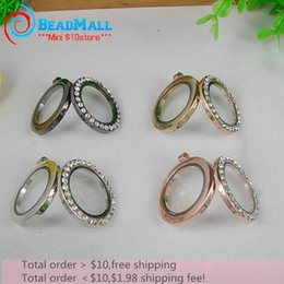 Wholesale-Wholesale!30*35mm 5pcs glass floating locket,metal round magnetic,floating charms with rhinestone,memory locket DIY accessories