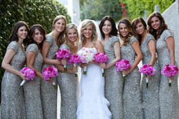 Modest 2018 Sheath Silver Sequins Bridesmaid Dresses Cheap Short Sleeves Long Floor Length Ruched Brides Maid Of Honor Dress Under $100 Puls
