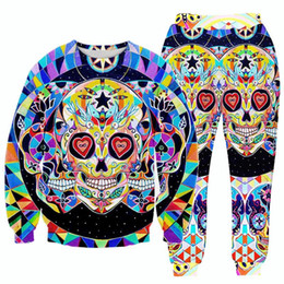 Wholesale w1213 Raisevern new floral skull D print fashion tracksuits men women attract sweatshirts joggers pants casual suits sudadera