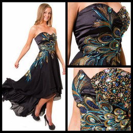 Attractive Black High Low Evening Dresses Sweetheart Peacock Embroidery Beaded Chiffon Short Front Long Back Womens Formal Prom Gowns